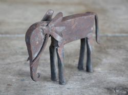 Antique Hand Forged Iron Elephant, Rajasthan - <b>sold<b>